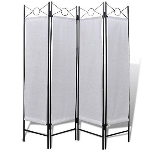 vidaXL 240808 4-Panel Room Divider Privacy Folding Screen White 160 x 180 cm - Untranslated