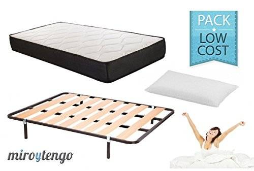 Bonitex Pack Low Cost Descanso completo 135X190 (colchon + somier + patas+ almohada)