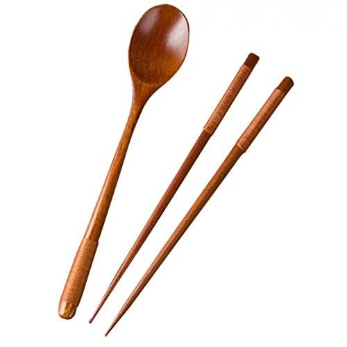 WARRAH Bamboo Twist Chopsticks Authentic Natural Bamboo Japanese Chopsticks With Spoon Colour 1