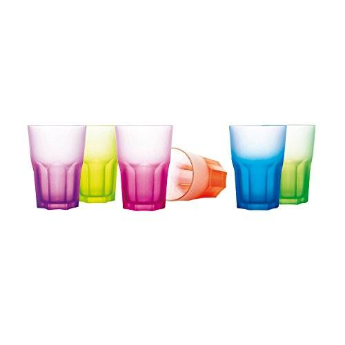 Luminarc Techno Colors - Estuche, 6 vasos altos, 40 cl, colores surtidos