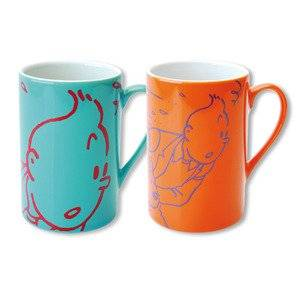 HERGE-MOULINSART TINTIN TAZA DUO COLORES