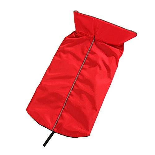Onemore choice Outdoor Waterproof Fleece Lined Pets Dogs Jacket Soft and Warm Dogs Vest Clothes With Harness Hole (XS, Red) by Onemore choice