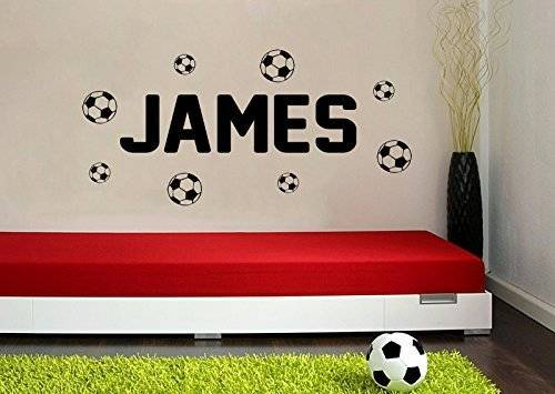 ART (LARGE) FOOTBALLS & PERSONALISED NAME BEDROOM VINYL WALL ART DECAL STICKER 14 COLOURS AVAILABLE by WALL ART DESIRE