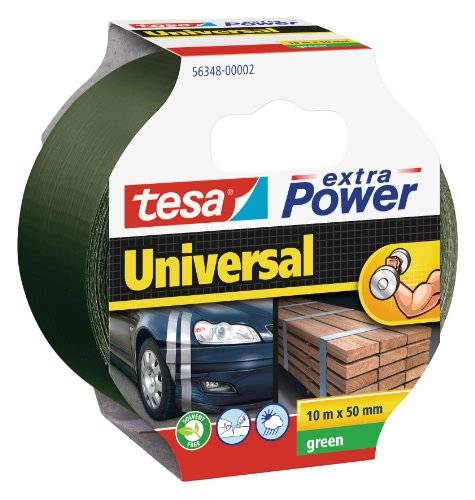 Tesa Extra Power Universal - Cinta americana, 10 m x 50 mm, color verde