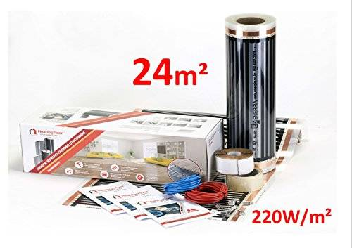 Heating Floor your warm comfort Heating floor - 24m2 Underfloor Heating Film Kit for Under Laminate & Wood 220W