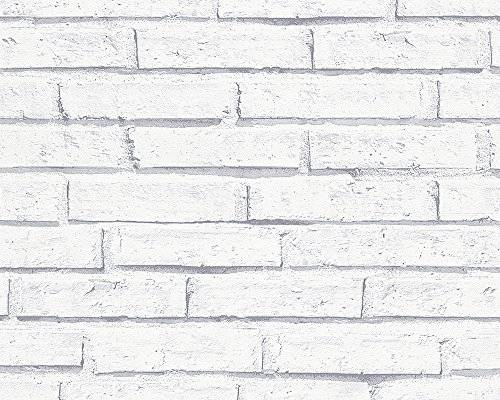 A.S. Création papel pintado de papel Authentic walls gris blanco 10,05 m x 0,53 m 301692