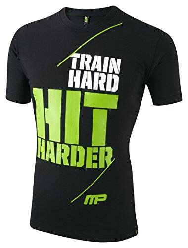 Musclepharm MPTS405 MUSCLE PHARM PRINTED TSHT BLACK MEDIUM - Los Hombres De 405 De Cuello Redondo T-Shirt - Negro, Medio