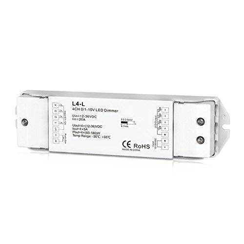 Nutbro 4 Channel 0/1-10V LED Dimming Controller 4CH 5A/CH Smooth Dimming without any flickering 12-36VDC