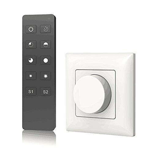 Nutbro AC Triac Rotary Panel Dimmer Rotary Panel AC Phase-Cut Dimmer Dimming RF Remote for Single Color Dimmable LED Lamps Traditional Incandescent Halogen Lights