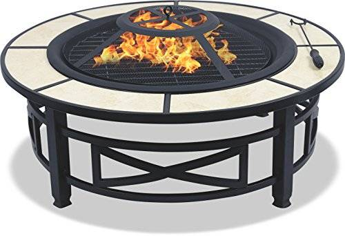 Centurion Supports NUSKU Luxurious and Premium Multi-Functional Black with Ceramic Tiles 360° Outdoor Garden & Patio Heater Round Fire Pit Brazier