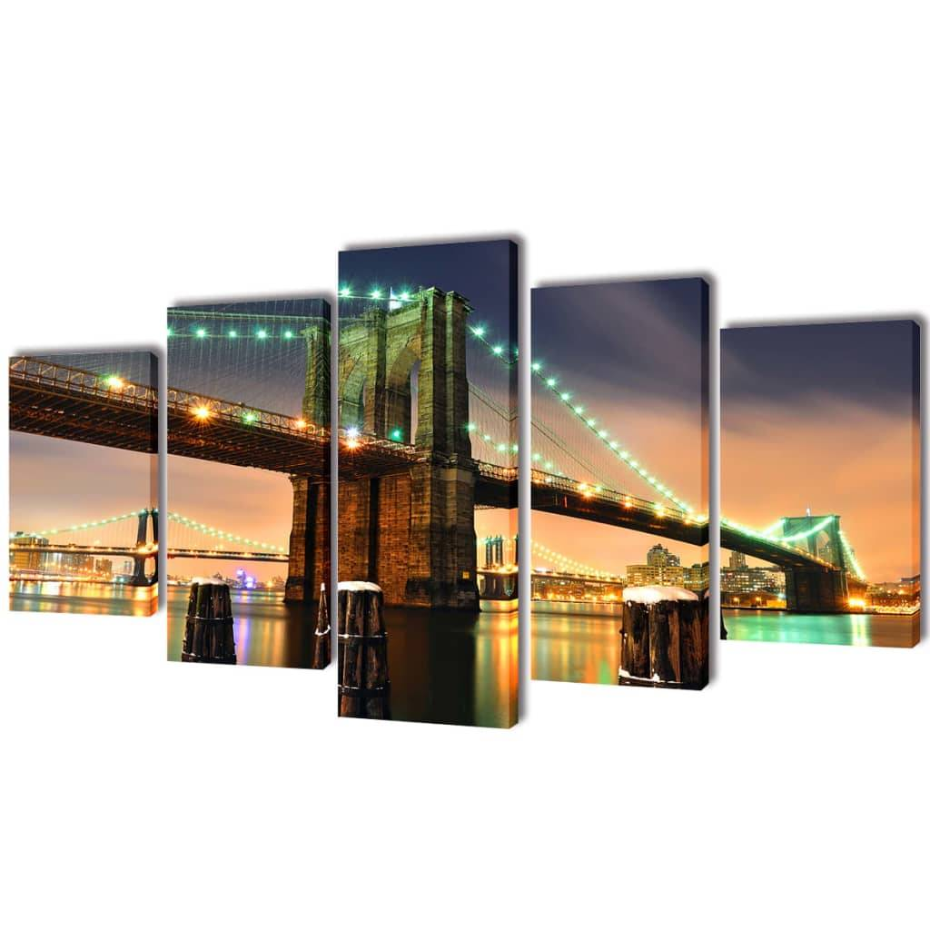 vidaXL Set decorativo de lienzos para pared puente Brooklyn 100 x 50 cm