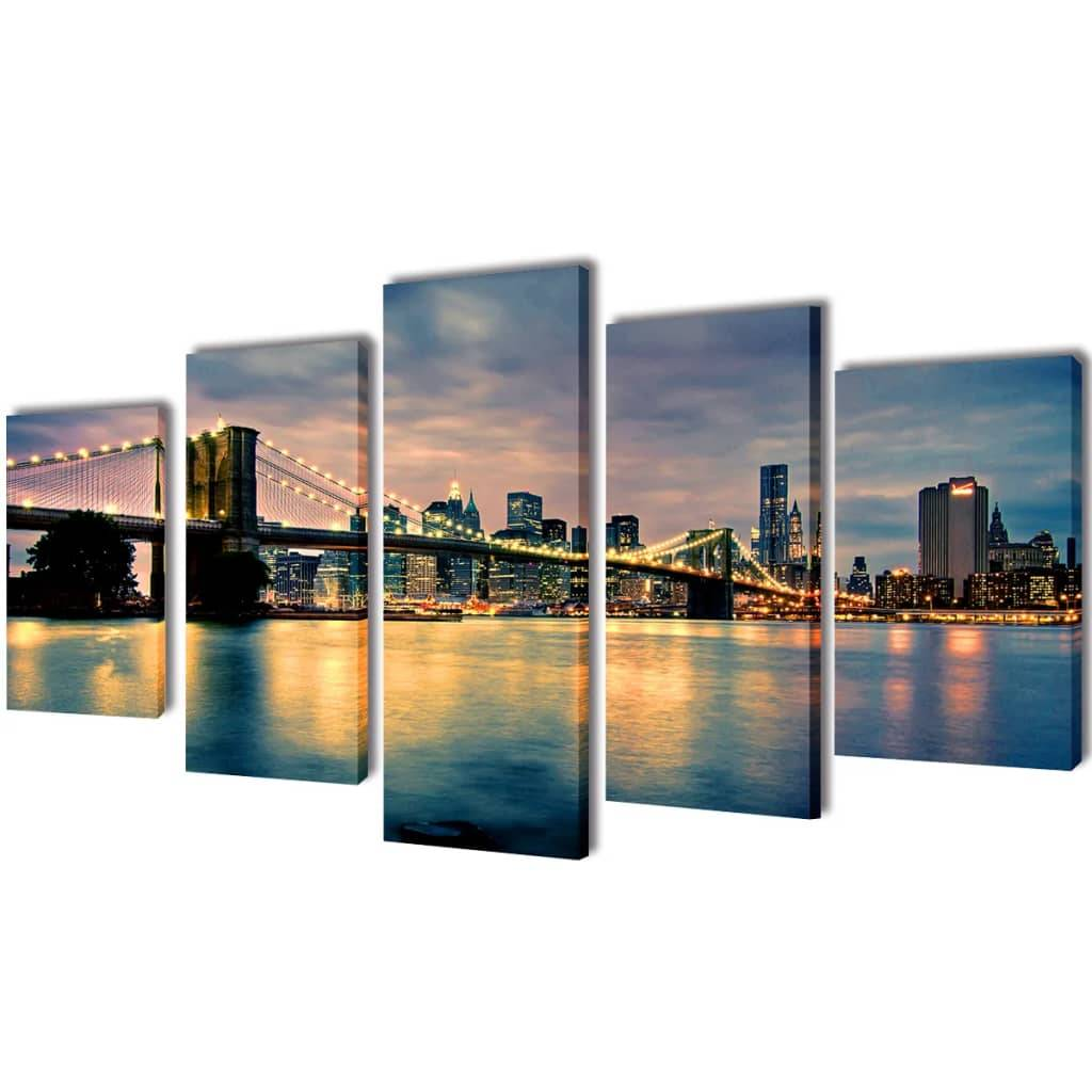 vidaXL Set decorativo de lienzos para pared río Brooklyn 100 x 50 cm