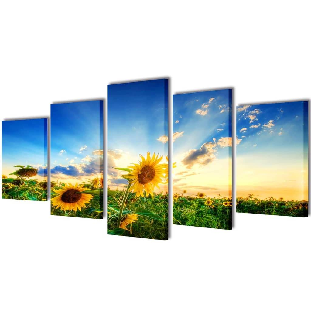 vidaXL Set decorativo de lienzos para la pared modelo girasoles, 100 x 50 cm