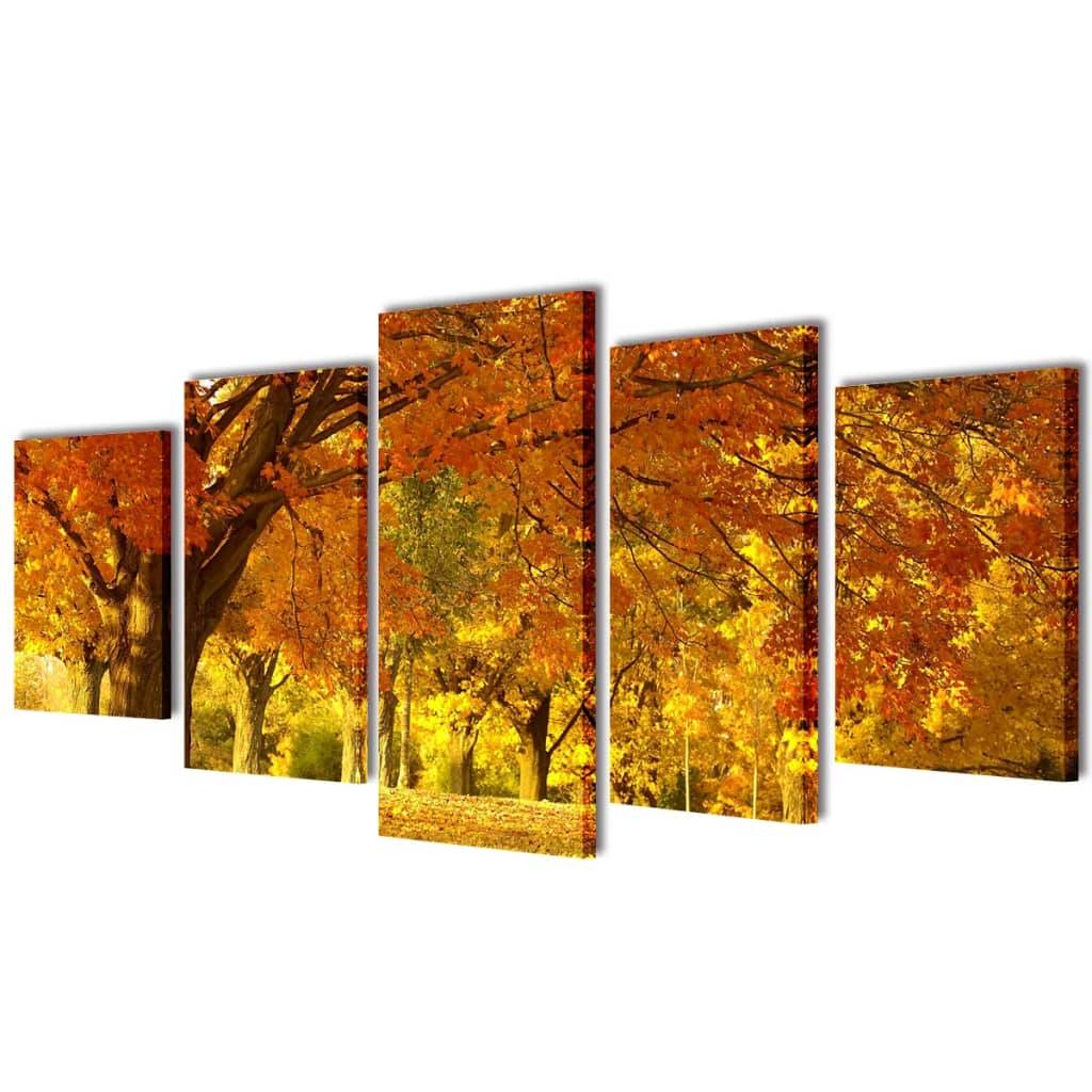 vidaXL Set decorativo de lienzos para la pared bosque arces 100 x 50 cm