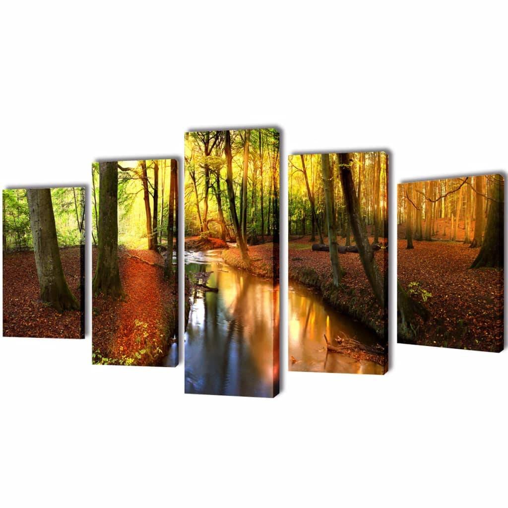 vidaXL Set decorativo de lienzos para la pared modelo bosque, 100 x 50 cm