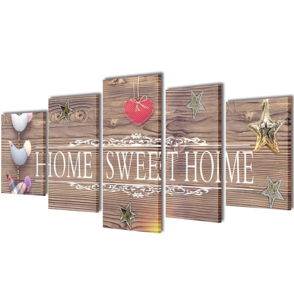 vidaXL Set decorativo de lienzos para pared Home sweet home 100x50cm