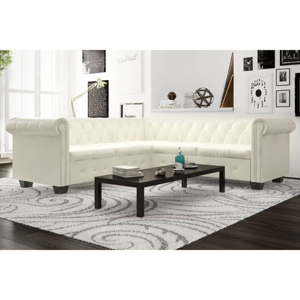vidaXL Sofá Chesterfield 5 plazas de cuero artificial blanco