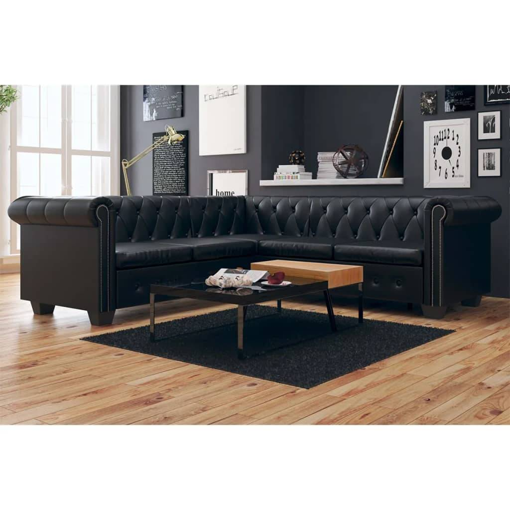 vidaXL Sofá Chesterfield 5 plazas de cuero artificial negro