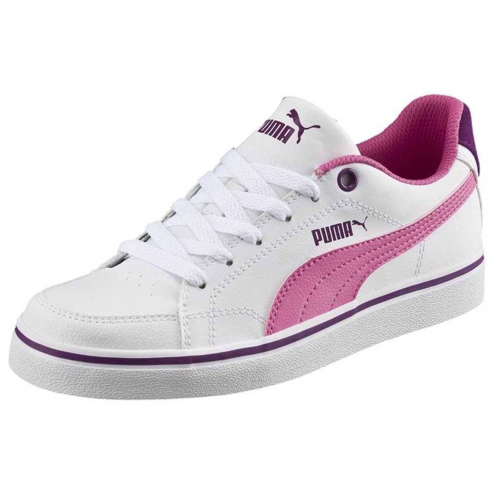 Puma Court Pt New Vulc Sl Junior  White / Carmine Rose / Grape Juice
