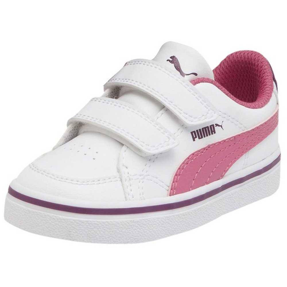 Puma Court Pt New Vulc Sl V Junior  White / Carmine Rose / Grape Juice