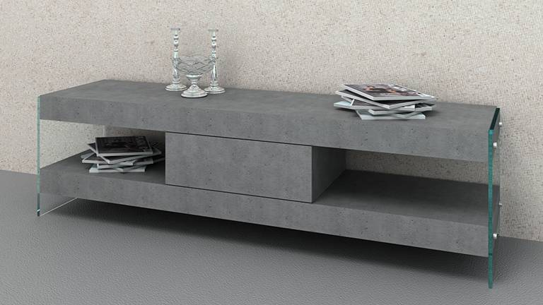 MobilierMoss Mueble de TV Crystalline Beton con pies de cristal