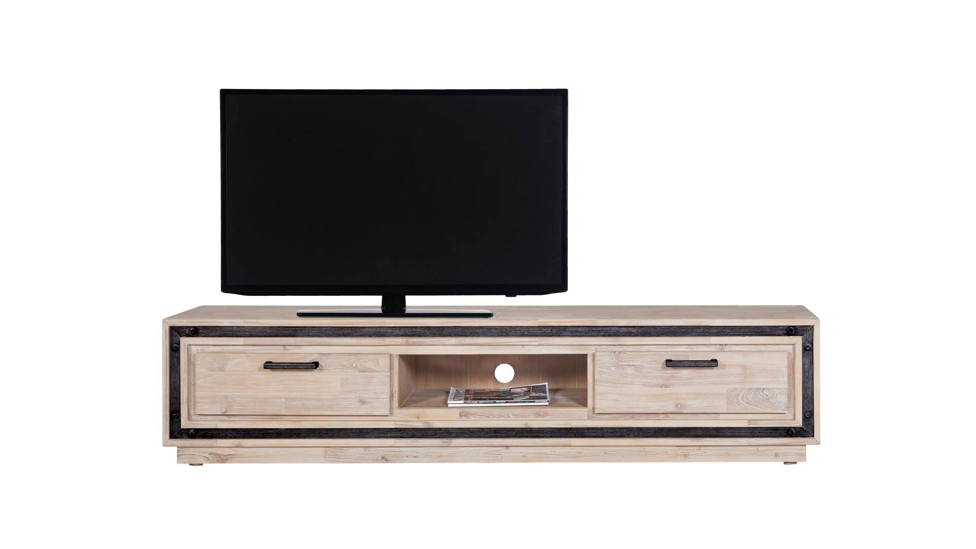 MobilierMoss Mueble TV de madera maciza y metal cepillado - Amylton