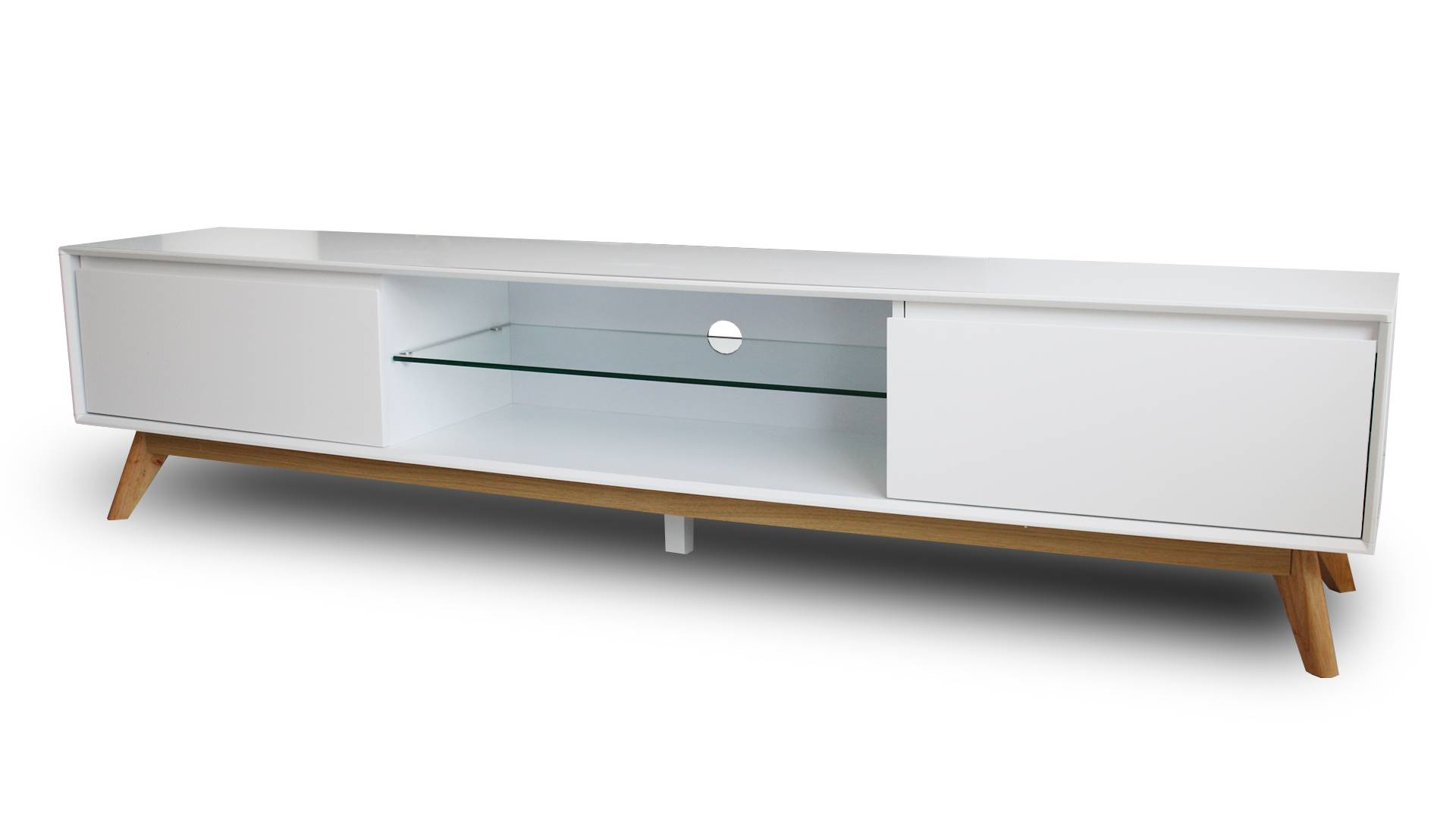 MobilierMoss Mueble TV blanco y patas de madera - Svartan