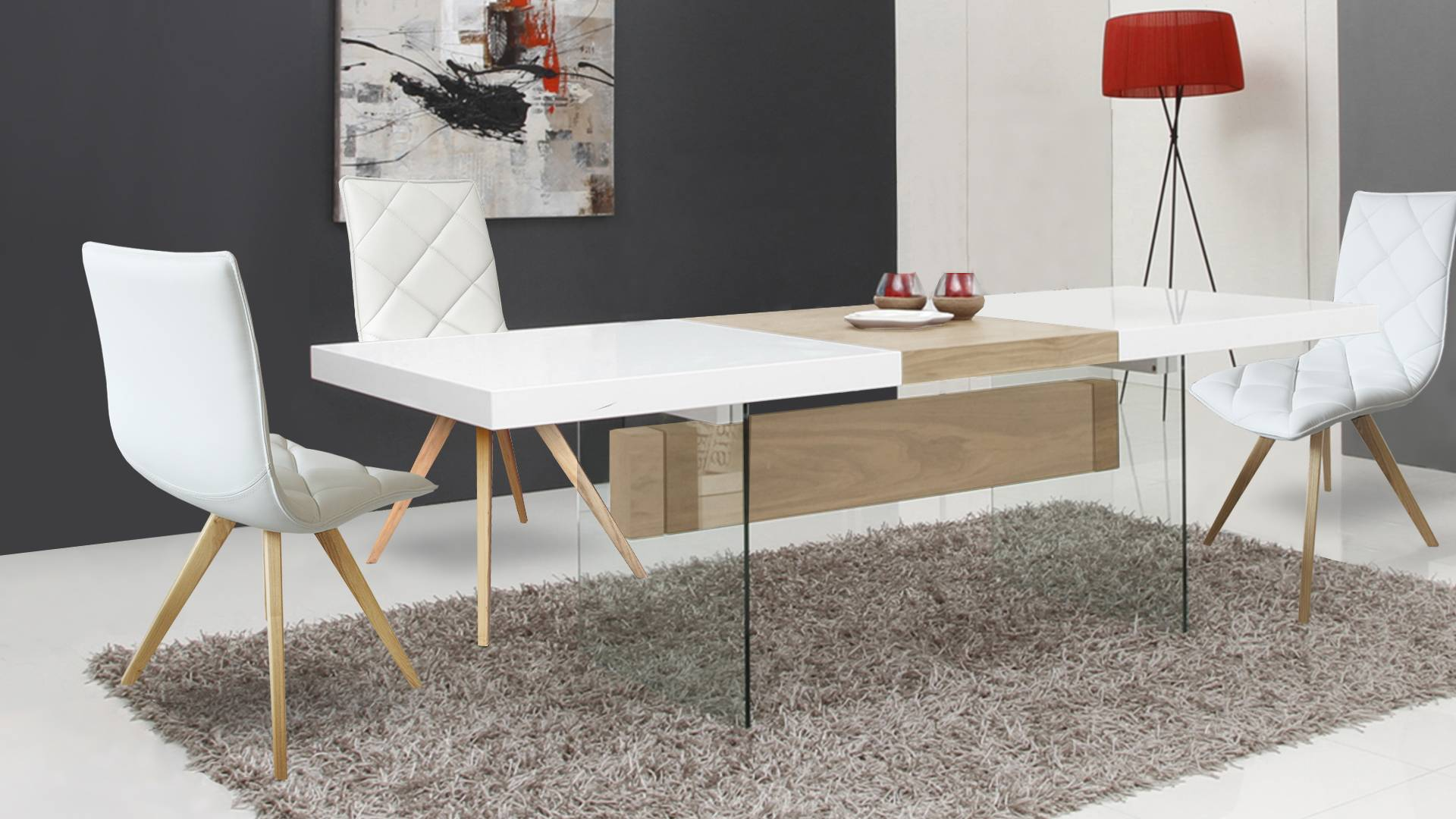 MobilierMoss Componga tu comedor lacado mate blanco - Friendly