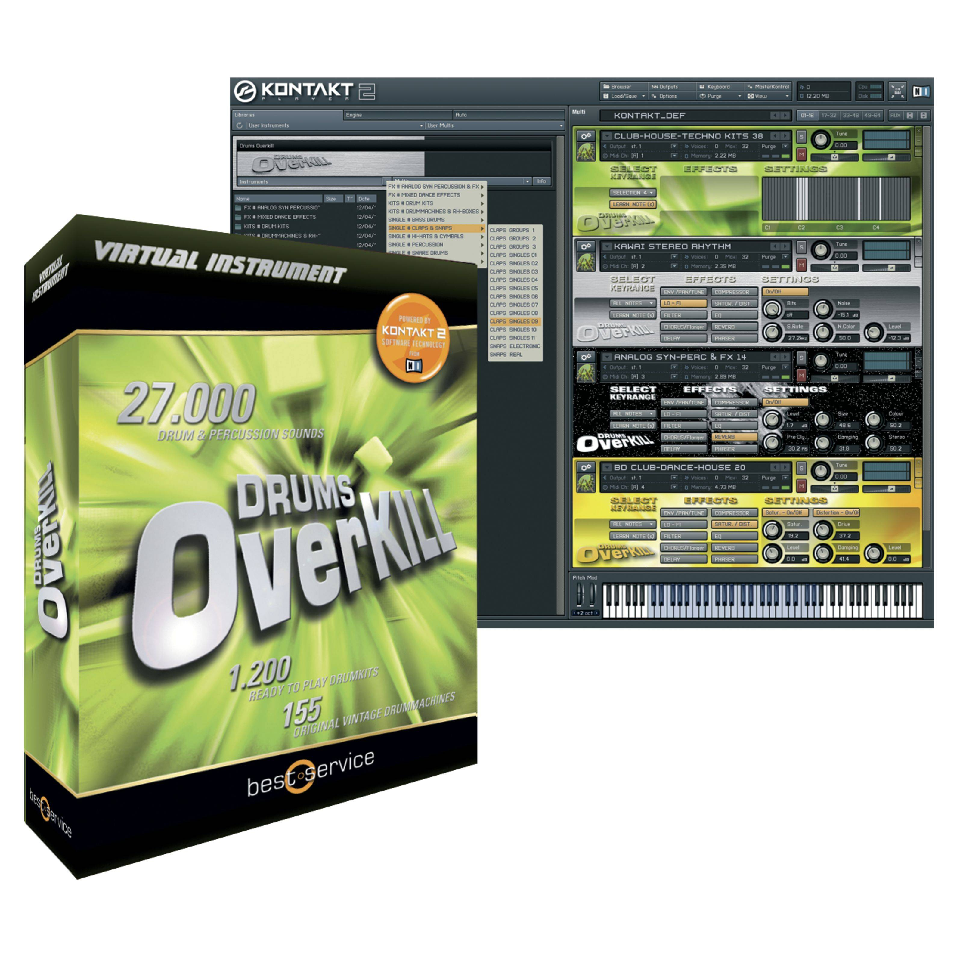 Best Service Drums Overkill PlugIn Contact/EXS/Halion/Wav