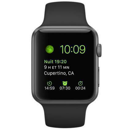 Apple Watch (1. Gen) 38 mm Aluminium Gris Espacial Correa deportiva Negra