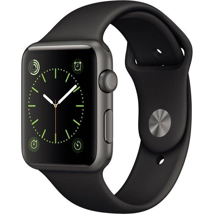 Apple Watch (1. Gen) 42mm Aluminium Gris espacial Pulsera Deportiva Negra