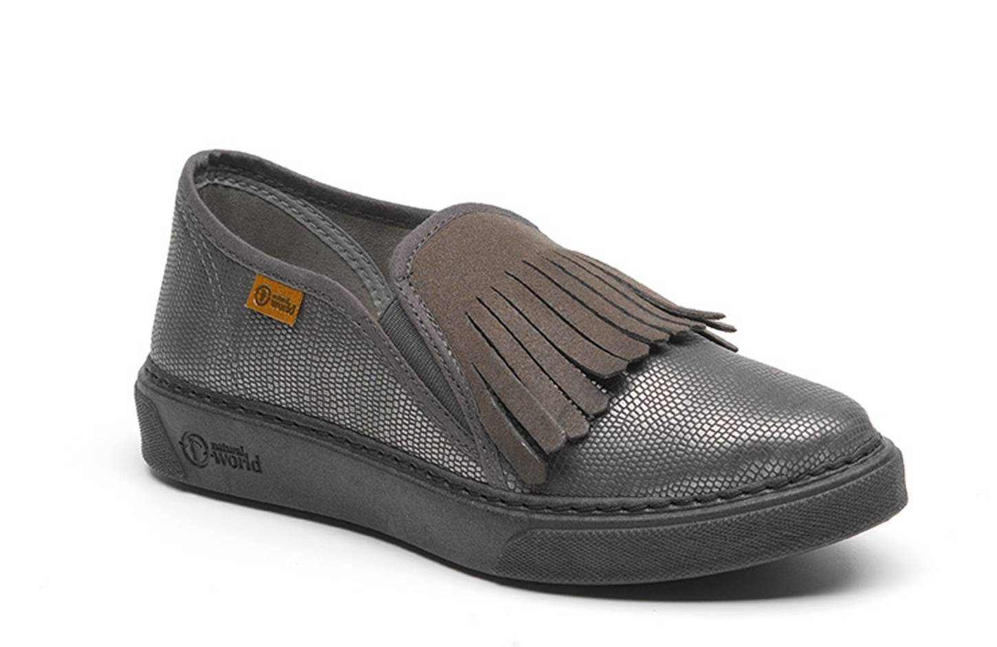 Natural World Zapatilla Slip on Flecos Lucertola 1180 Gris