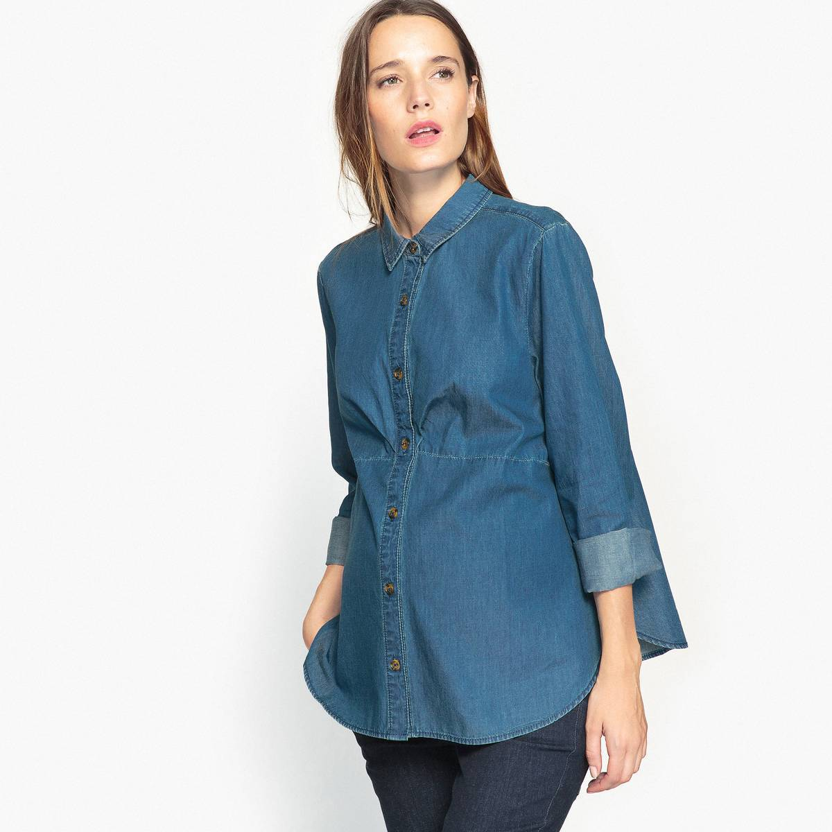 La Redoute Collections Camisa denim de embarazo azul