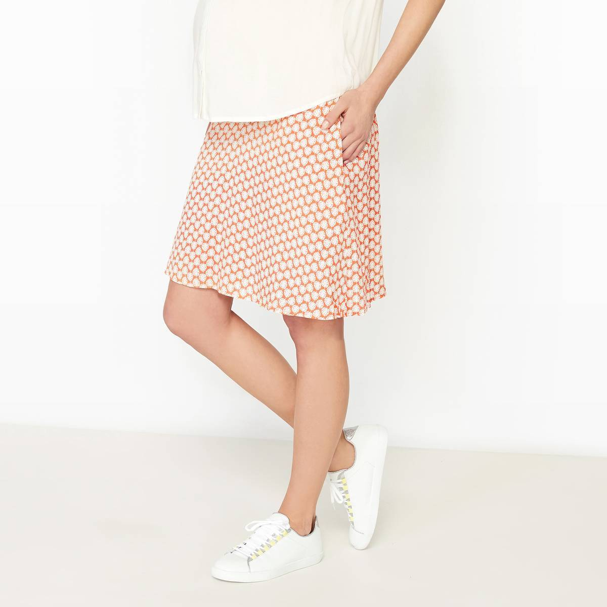 La Redoute Collections Falda de embarazo estampada, viscosa naranja