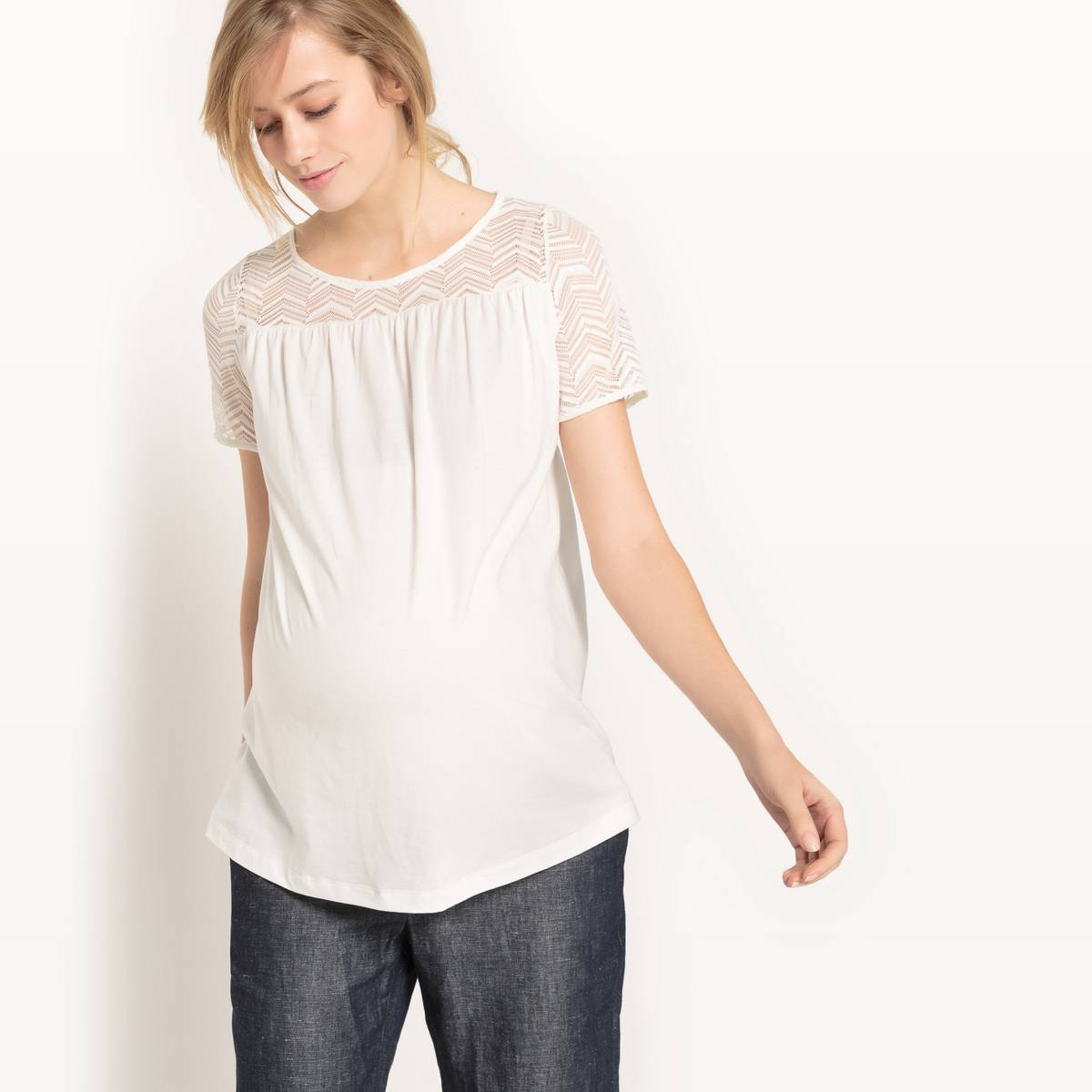 La Redoute Collections Camiseta de embarazo, cuello redondo beige