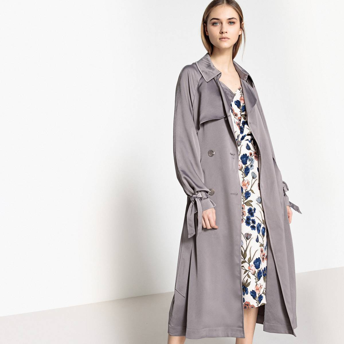 La Redoute Collections Trench vaporoso satinado marrón