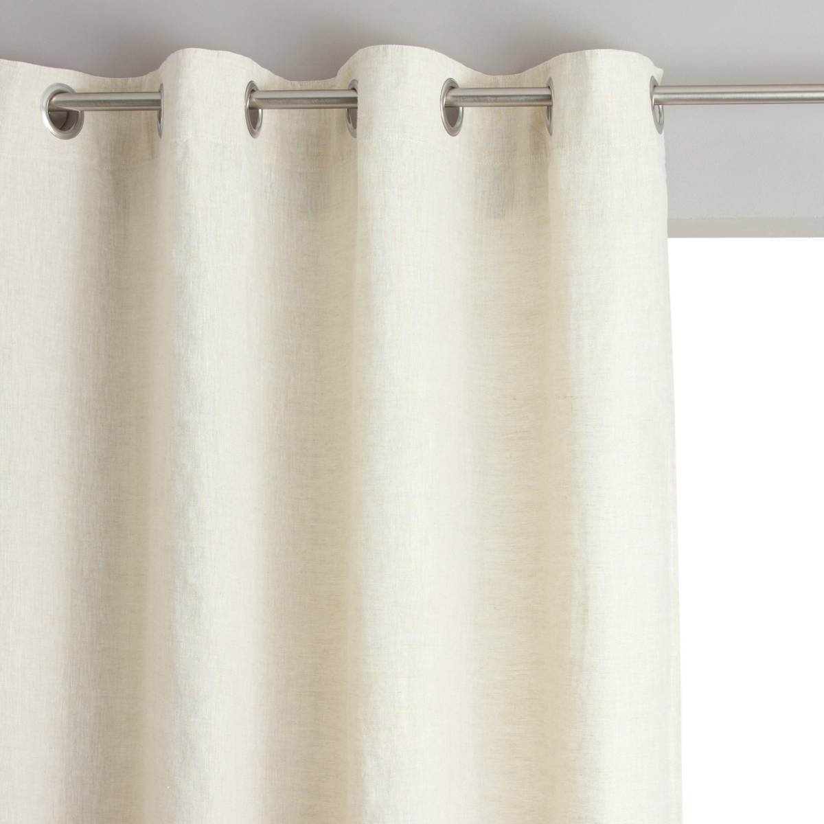 AM.PM. Cortina de lino lavado con ojales, Private beige