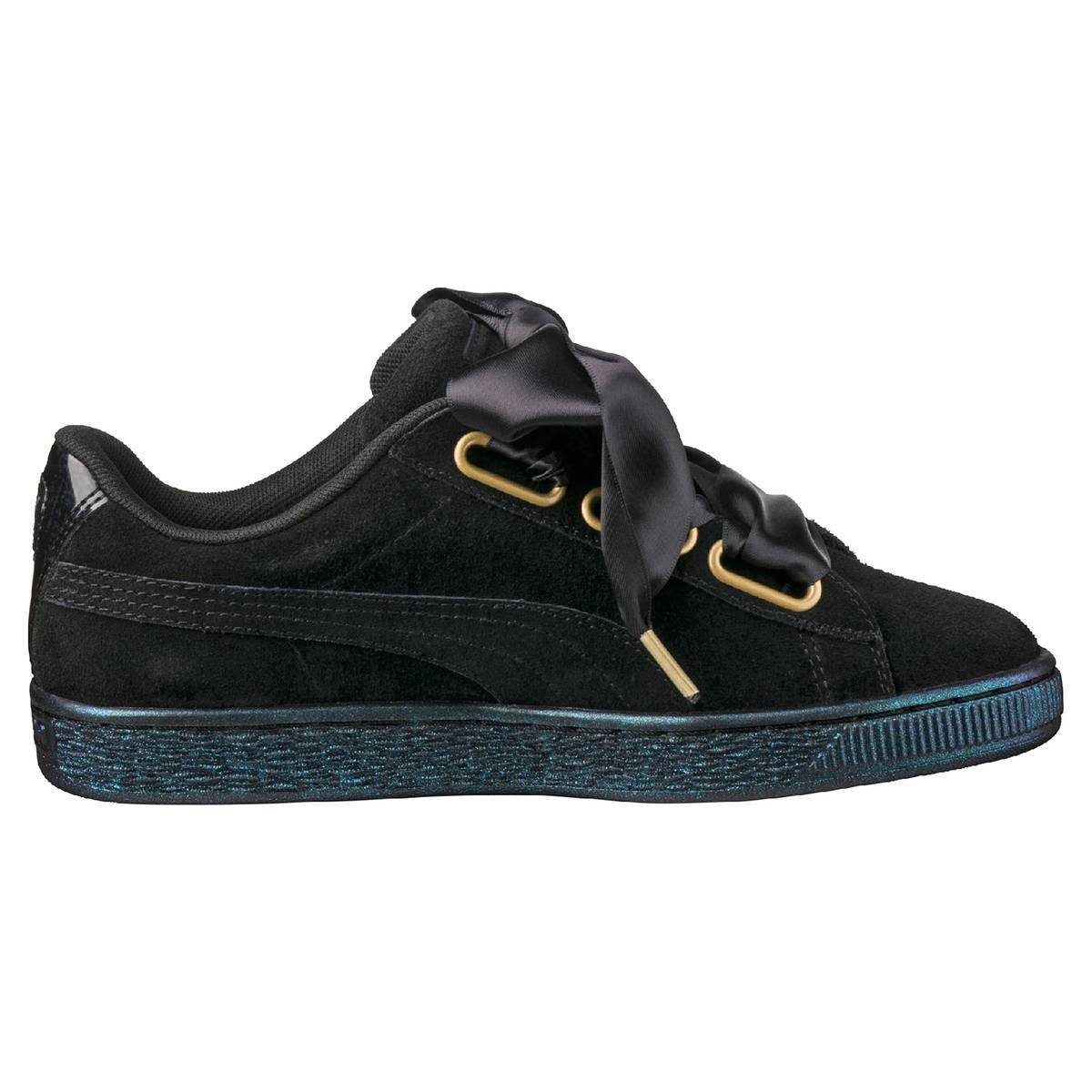 PUMA Zapatillas Suede Heart Satin negro