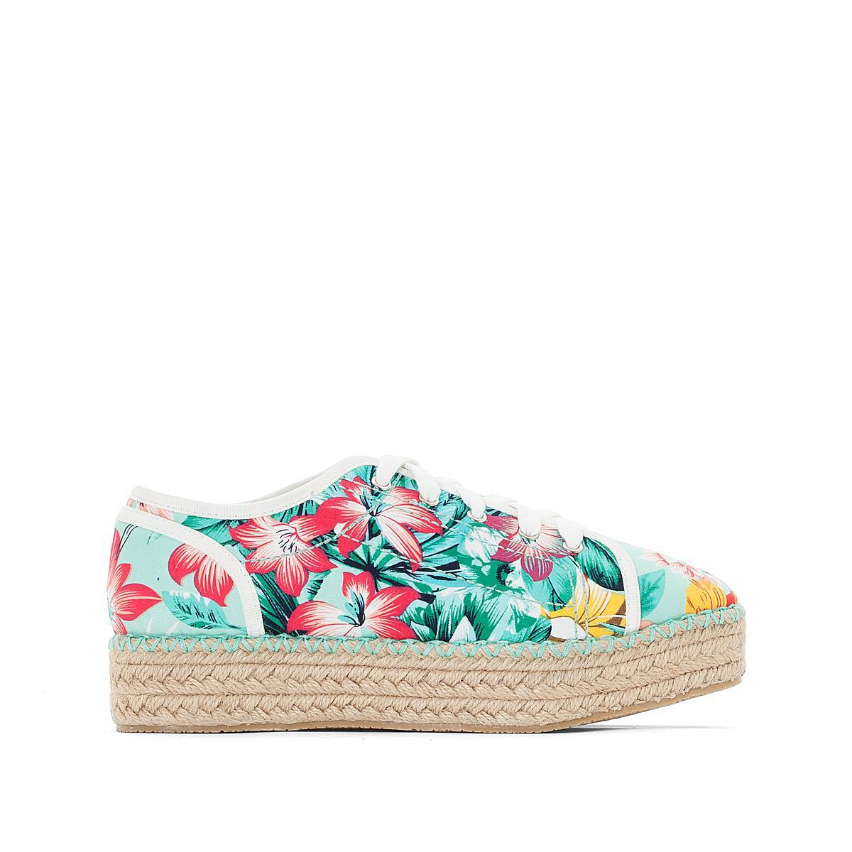 La Redoute Collections Zapatillas con estampado tropical azul