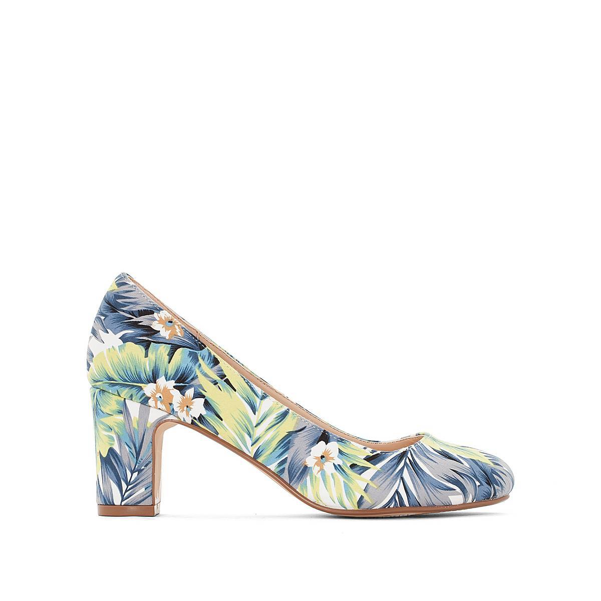 La Redoute Collections Zapatos de tacón con estampado tropical azul
