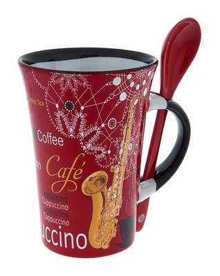 Music Sales Cappuccino Mug Saxophone Red