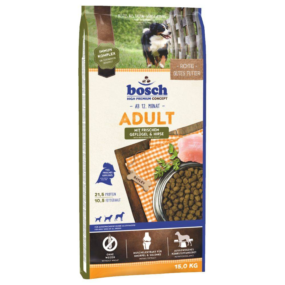Bosch Adult con ave y mijo - 2 x 15 kg - Pack Ahorro