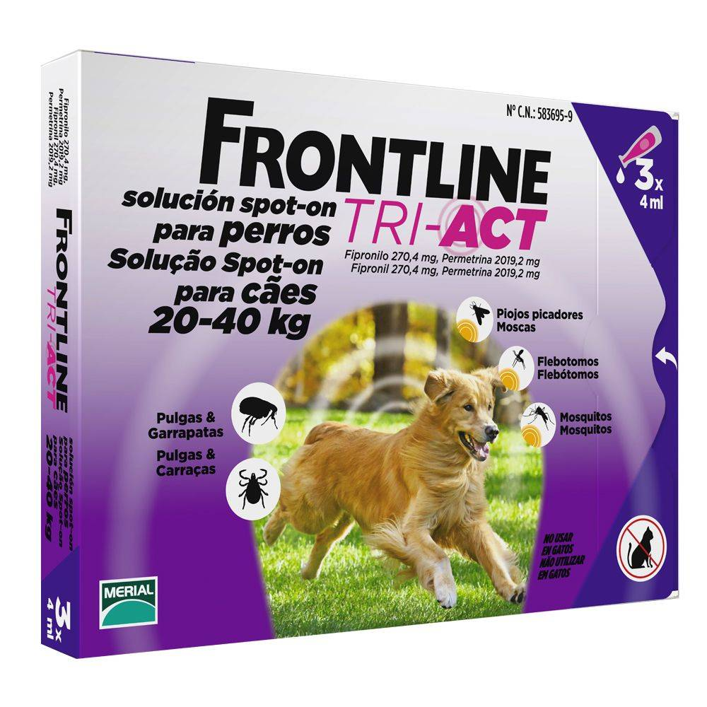 Frontline 3 x 4 ml (20-40 kg) ® Tri-Act spot-on para perros
