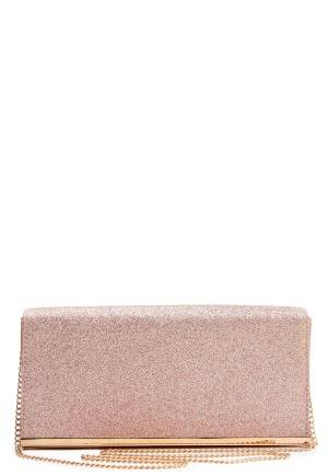 New Look Glitter Clutch Rose Gold One size