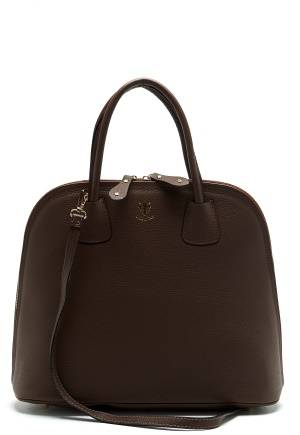 Mixed from Italy Top Handle Leather Bag Dark Brown One size