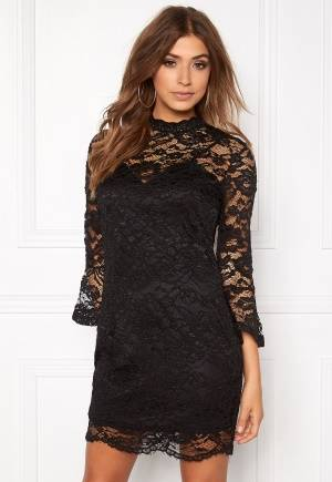 Girl In Mind Long Sleeve Lace Dress Black S (UK10)