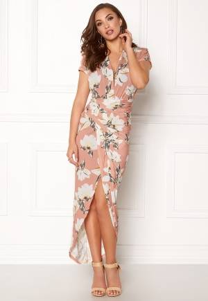 John Zack Cap Sleeve Rouch Dress Pink Floral L (UK14)