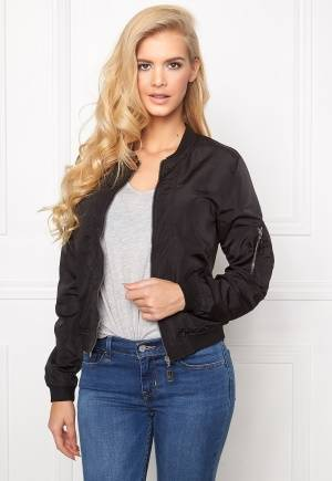 Mixed from Italy Front Zip Bomber Jacket Black M (UK12)