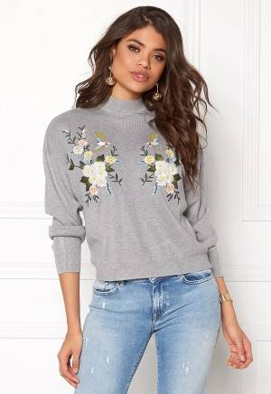 New Look Bird Embroidered Sweat Pale Grey M