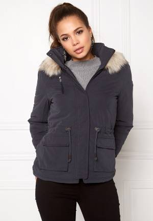 ONLY Starlight Fur Parka Blue Graphite M